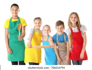 Group of children on white background. Concept of cooking classes