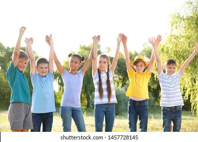 Group of children outdoors on summer day