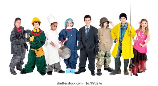 Group of children posing with different costumes isolated in white
