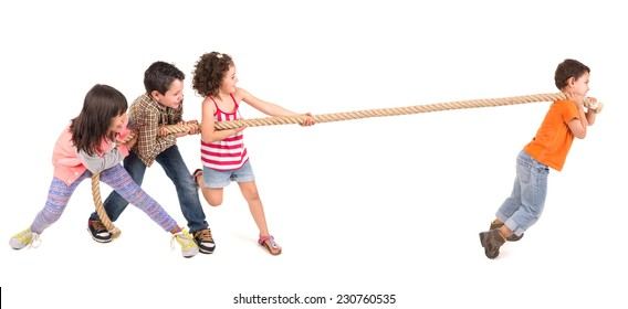 Group of children in a rope-pulling contest against just one kid