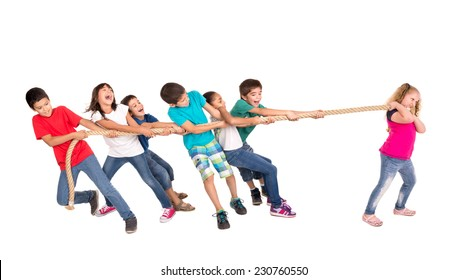 Group of children in a rope-pulling contest against just one strong girl
