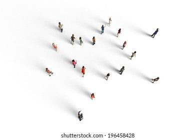 Group of children running, 3D rendering