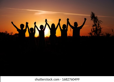 Group of children silhouette,Moments of the child's joy. On the Nature sunset