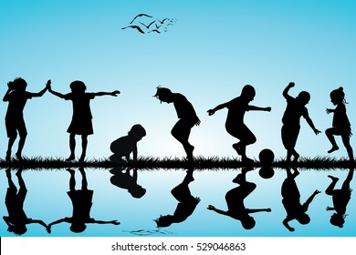 Group of children silhouettes playing outdoor