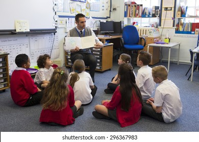 A group of children sit on the floor cross legged, listening to the teacher read a story.