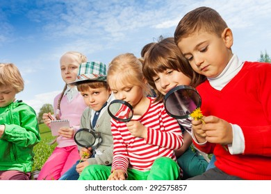 Group of children sitting in field with magnifier