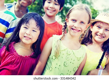 Group of Children Smiling Cheerful Concept