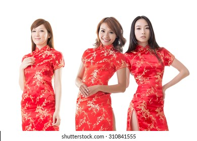 5a43d58c3bd58e Group of Chinese women dress traditional cheongsam at New Year