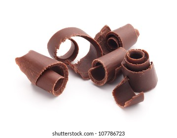 group of chocolate shavings isolated on white