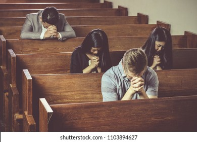 Group of Christian Praying in Church, vintage