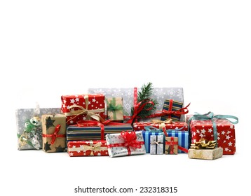 Group of christmas gifts isolated on white background