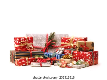 Group of christmas gifts isolated on white background (also available as footage)