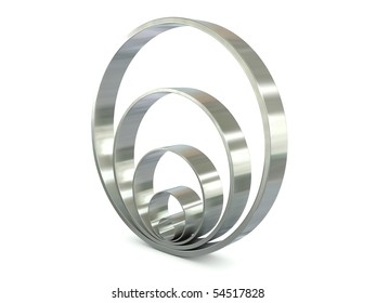 Group of chrome rings isolated on white background