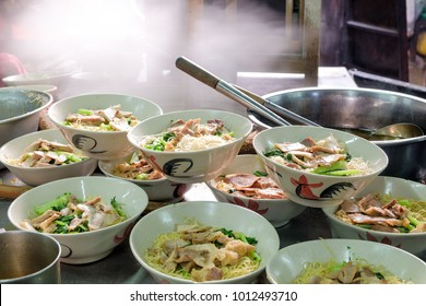 Group of Chubgung Noodles, one of street food is popular on Chinatown (Yaowarat) Bangkok, Thailand