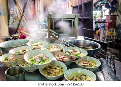 Group of Chubgung Noodles, one of street food is popular on Chinatown (Yaowarat) Bangkok, Thailand