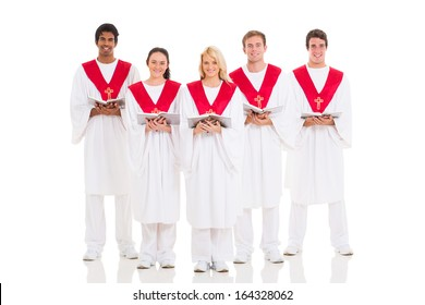 group church choir with hymnal on white background