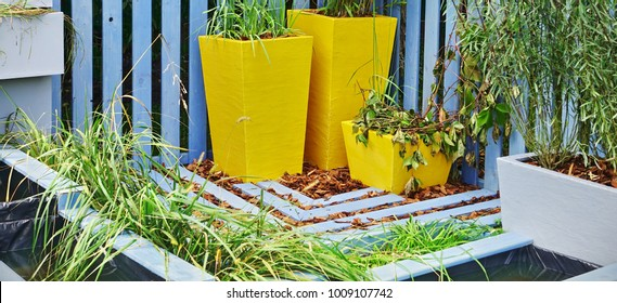 Group Of Clay Flower Pots And Mini Artificial Ponds At The Backyard Garden
