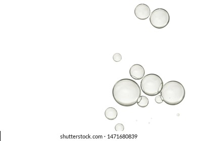 A group of clear bubbles isolated over a white background.