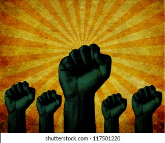 Group of Clenched fist raised in air with bright sun burst grunge background. Victory, revolt concept. Revolution, solidarity, punch, strong, strike, change protest, celebration.