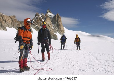 Group of climbers on a route