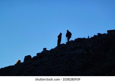 A group of climbers over the Kala Patthar, Gorak Shep, Everest Base Camp trek, Nepal