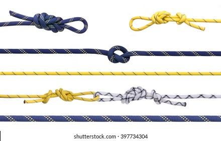 Group of climbing ropes and knots and loops.  Set of mountaineering ropes isolated on white background