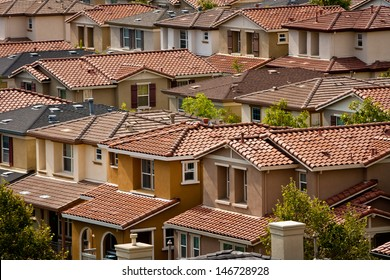 A group of closely-spaced tract homes in San Jose, California.