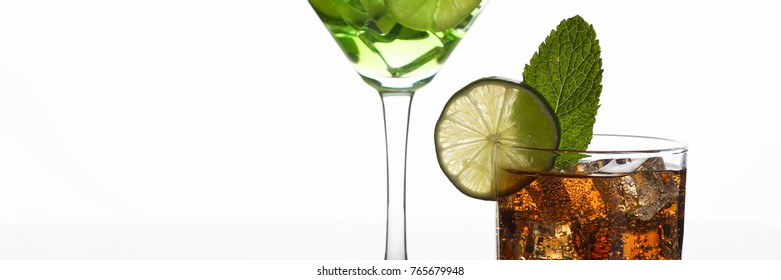 Group cocktail cola with whiskey mojito in a glass print print for skinned kitchen background interior bar products home furnishings trendy design black gray gradient sliced fruits and ice.