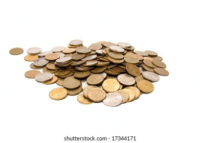 Group of coins on white background