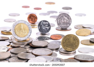 Group of coins, Thai baht  isolated on white background