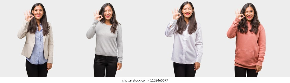 Group or collection of indian young woman wearing different clothes cheerful and confident doing ok gesture, excited and screaming, concept of approval and success