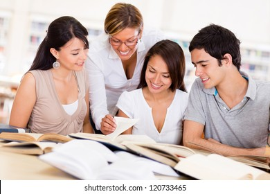 Group of college students at the library