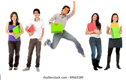 Group of college students with notebooks - isolated over white