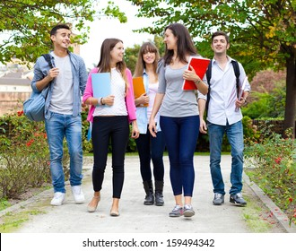 Group of college students walking together