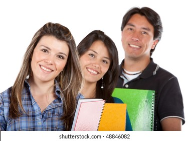 Group of college or university students isolated over a white background