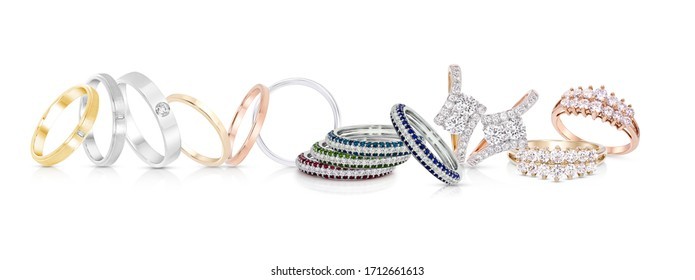 group of color gemstone rings and diamond ring jewelry with colored diamonds on white background