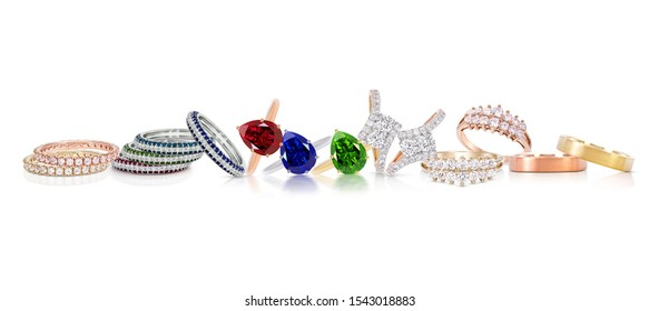 a group of color gemstone rings jewelry with colored diamonds on white background