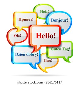 Group of color hello speech bubbles in different languages.