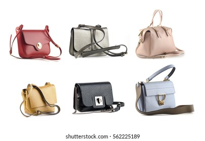 group of color leather women handbags isolated on white background