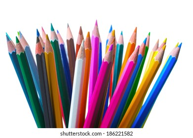 Group of color pencils, isolated on white background