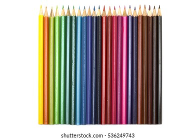 Group of color pencils on white background