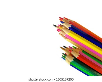 group of colored pencil isolated on white background