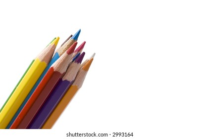 group of colored pencils isolated diagonally on a white background