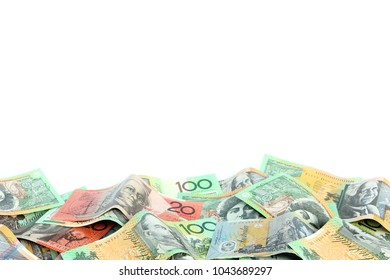 Group of colorful australian money banknote dollar (AUD) pile on white background have copyspace on top for put text