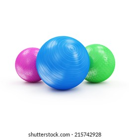 Group of Colorful Fitness Balls isolated on white background