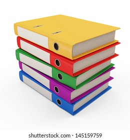Group of Colorful Folders with Documents isolated on white background
