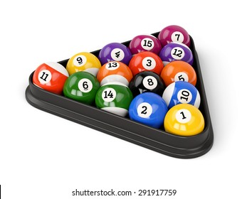 Group Of Colorful Glossy Pool Game Balls With Numbers And Plastic Triangle Isolated On White Background