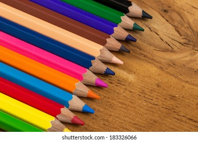 Group of colorful pencils on the table