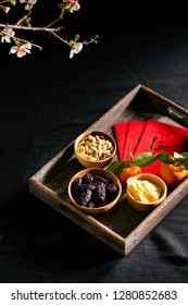 Group of colorful Vietnamese jam for Vietnam Tet holiday, Text on envelop means Happy New Year and Happiness.
