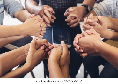 Group community People diverse hands holding circle to pray for God each other support together teamwork